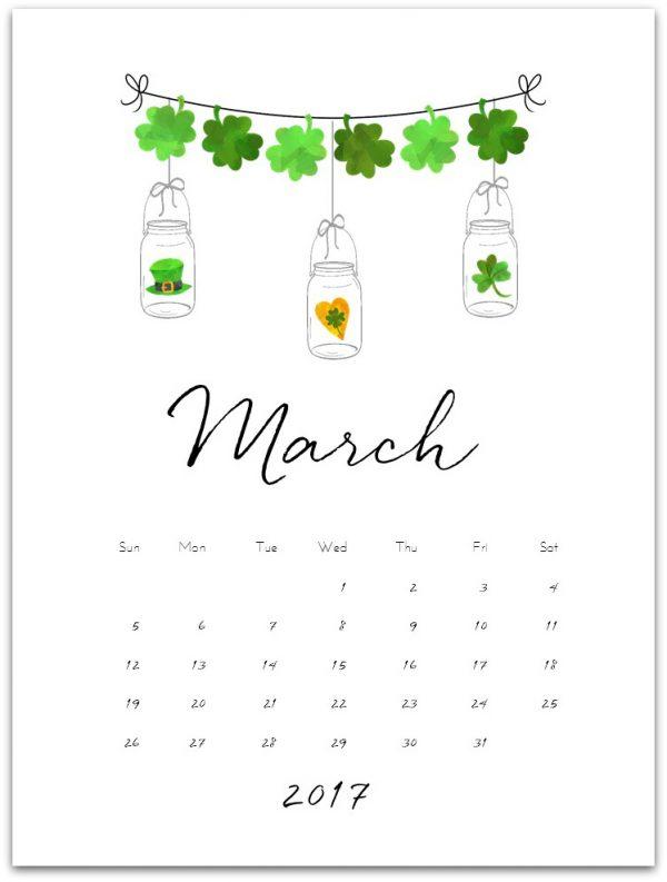 Free Calendar Page for March 2017 - Mason Jar Crafts Love