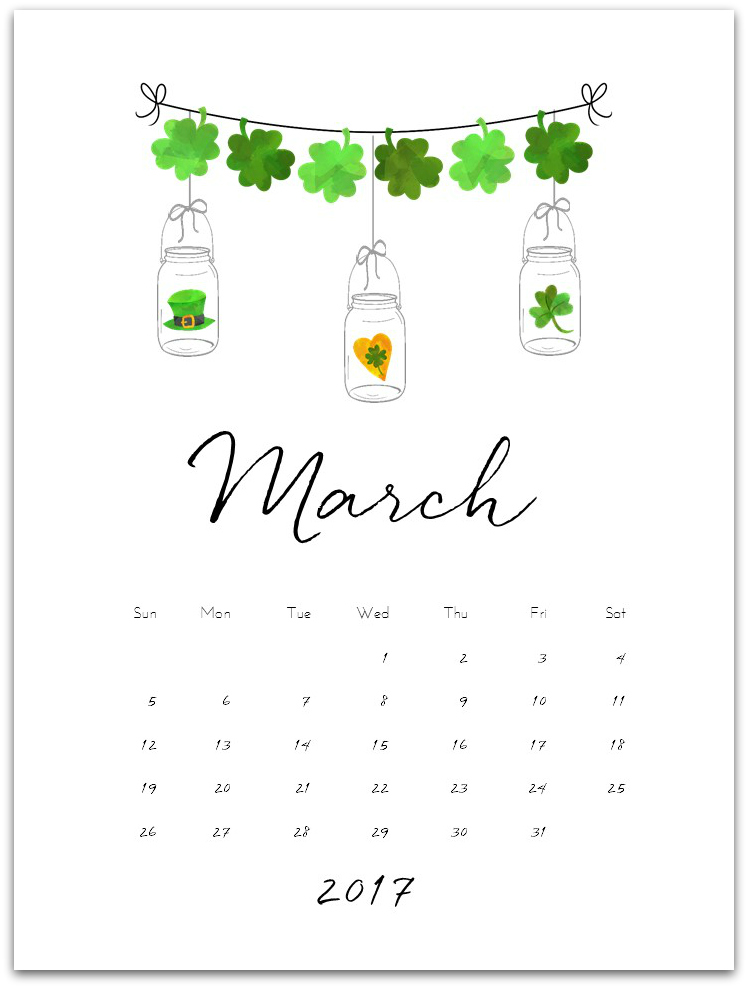 Free Calendar Page for March 2017 with Mason Jars