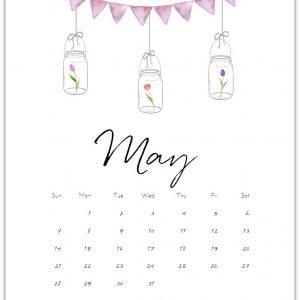 May Calendar Page 2017 - Free Mason Jar Calendar Page @Mason Jar Crafts Love www.masonjarcraftslove.com
