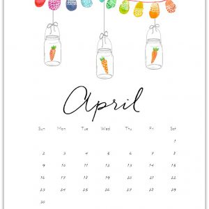 April Calendar Page Printable - Free Calendar Page - Mason Jar Calendar Page