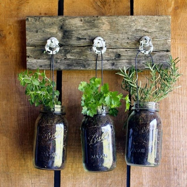 Hanging herbgarden with masonjars from countrychiccottage  link for morehellip