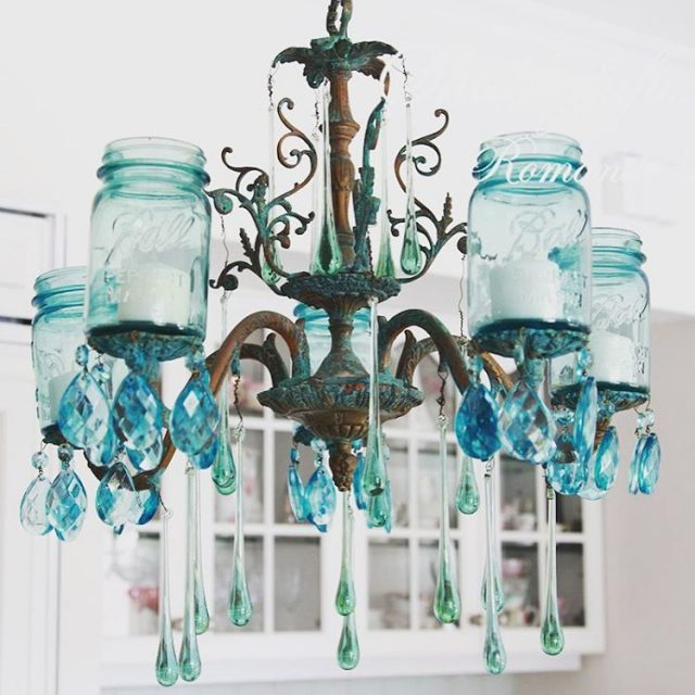 masonjar chandelier with vintage blue mason jars from shabbyfufu