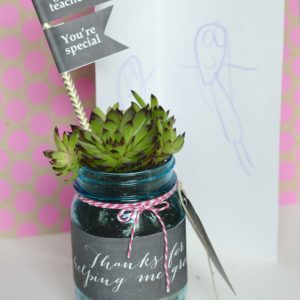 Teacher Gift Succulent Mason Jar Plant Holder - Homemade Teacher Gifts with Mason Jars