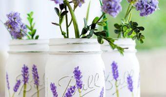 Painted Lavender Flower Mason Jar @Mason Jar Crafts Love blog www.masonjarcraftslove.com