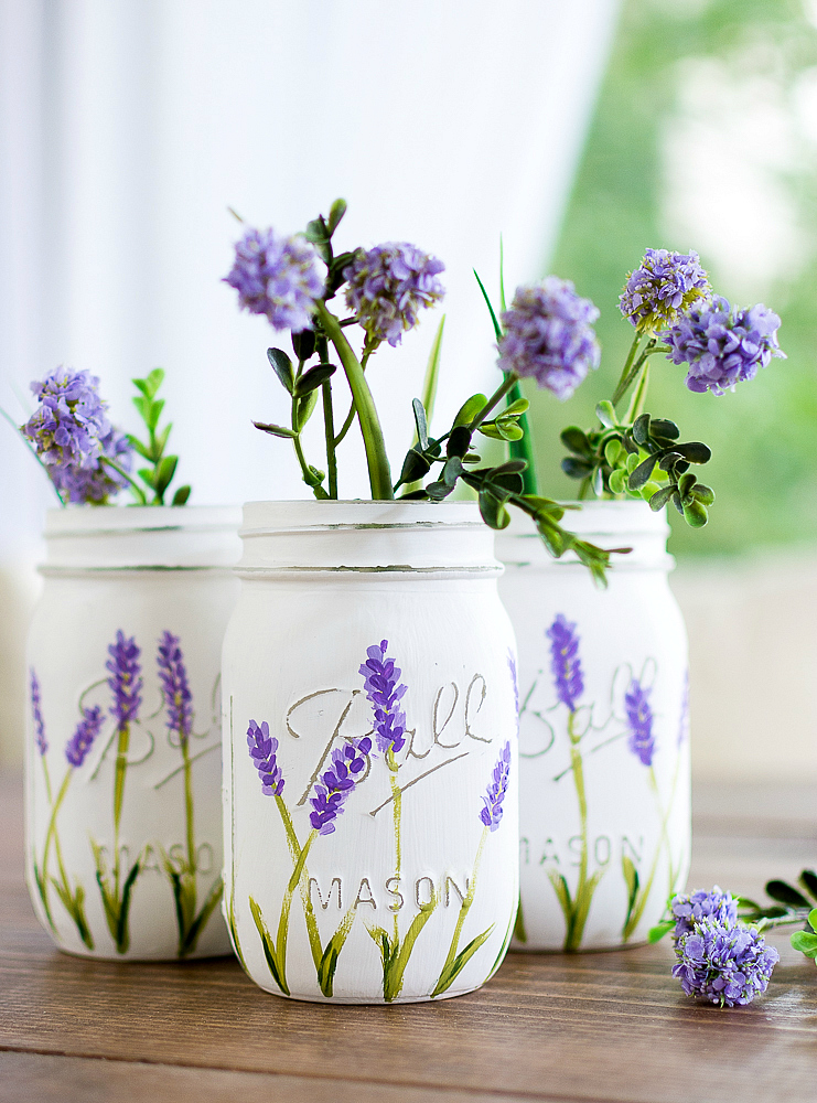 painted lavender flower mason jars