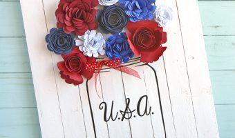 Red White Blue Mason Jar Craft