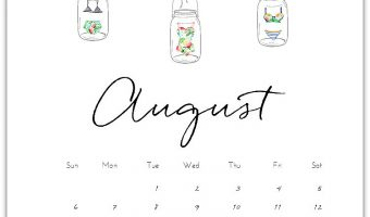 August Mason Jar Calendar Page