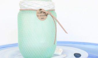 Faux Sea Glass Mason Jar with Netting