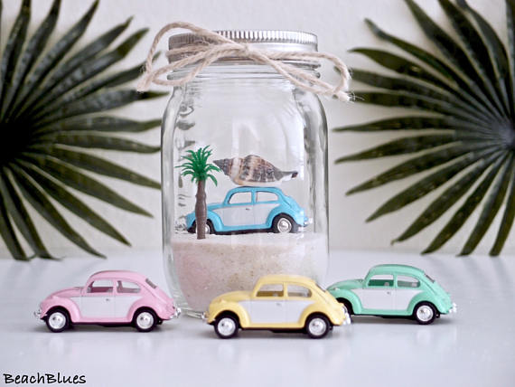 Beach Cars in Mason Jars - Volkswagen Beetle in Mason Jar - Summer Decor - Beach Decor @Beach Blues on Etsy