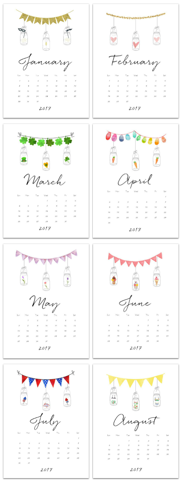 Free Calendar Page Printables with Mason Jars