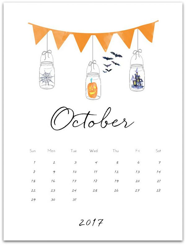 October 2017 Free Calendar Page Printable - Mason Jar Calendar Page Printable
