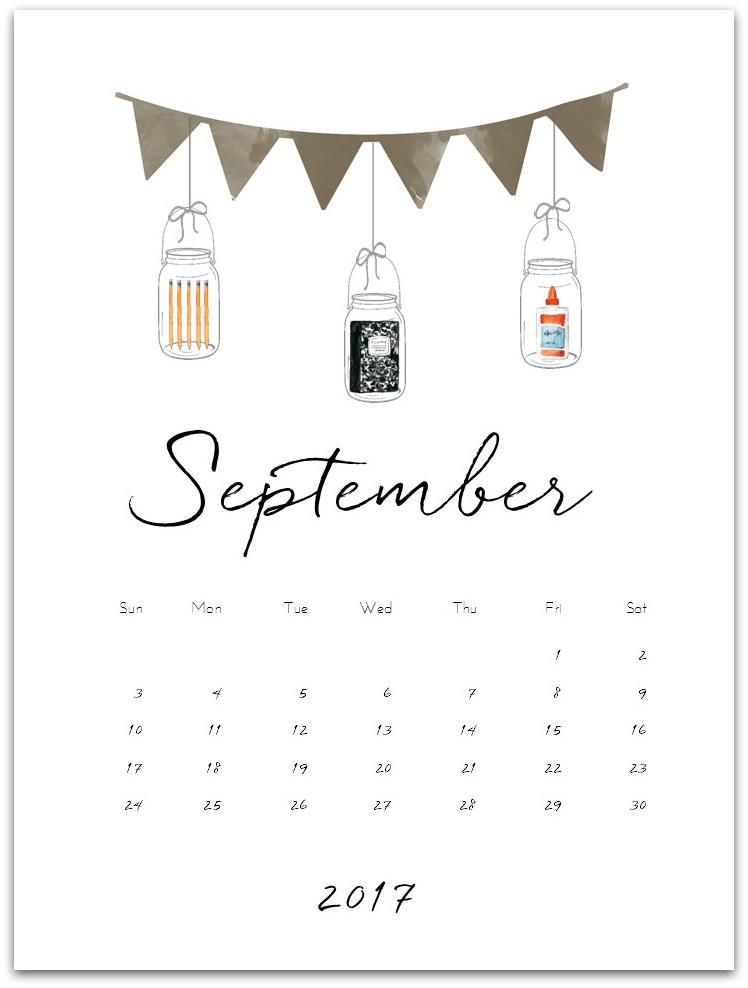 September Mason Jar Calendar Page