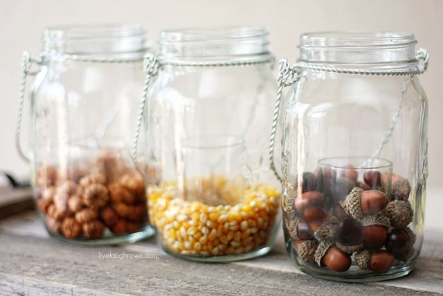 Mason Jar Fall Votives