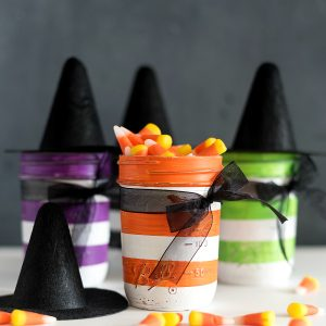 Witch Mason Jars - Witch Hat Mason Jars - Mini Witch Hats on Mason Jars - Halloween Mason Jars