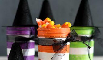 Witch Mason Jars - Witch Hat Mason Jars - Mini Witch Hats on Mason Jars - Halloween Mason Jars