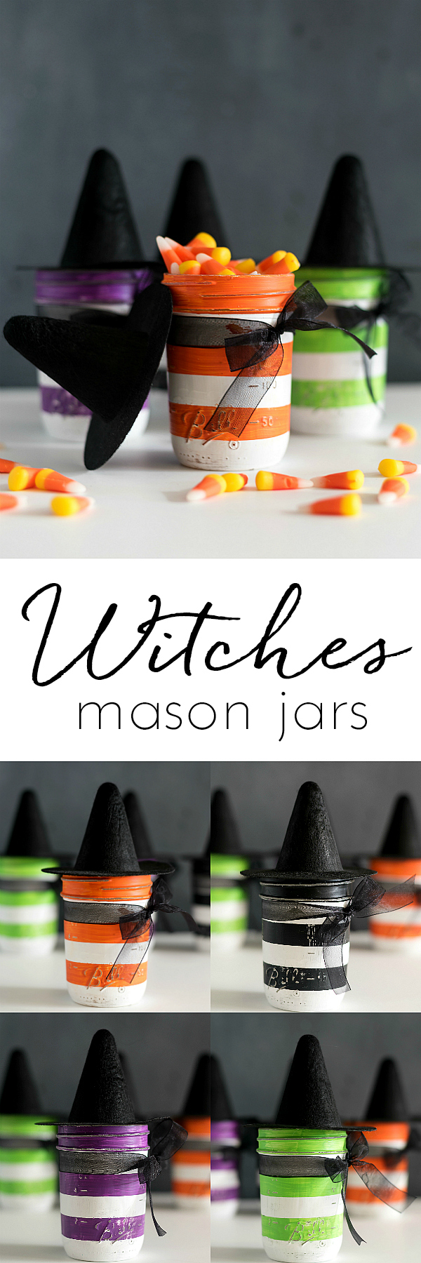 Witch Mason Jars - Witches Mason Jars - Halloween Mason Jars - Mini Witch Hat Mason Jars for Halloween - Mason Jar Crafts for Halloween @masonjarcraftslove.com