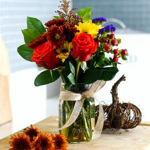 Fall Flowers in Mason Jar - Easy Fall Flower Arrangement - Supermarket Flowers in Mason Jars - Mason Jar Vase Ideas