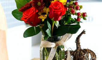Fall Flower Arrangement in Mason Jar