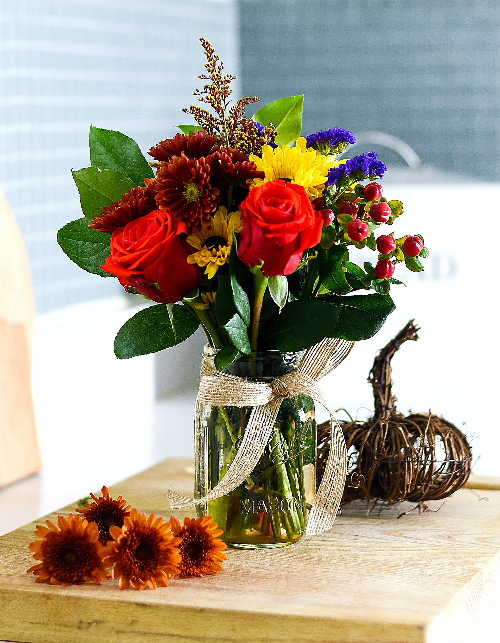 fall flower arrangement in mason jar mason jar crafts love
