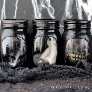 Haunted House Mason Jars - Halloween Mason Jar Craft Idea