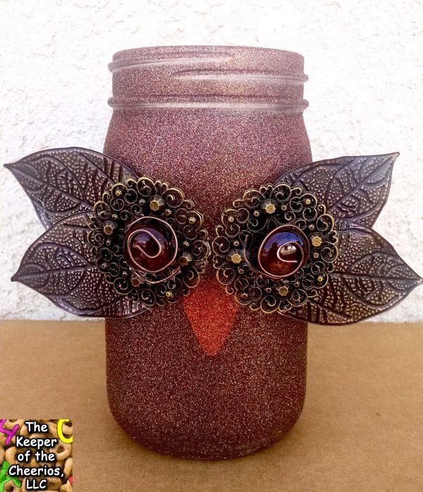 Owl Mason Jar Craft - Glam Owl Mason Jar @thekeeperofthecheeriors.com