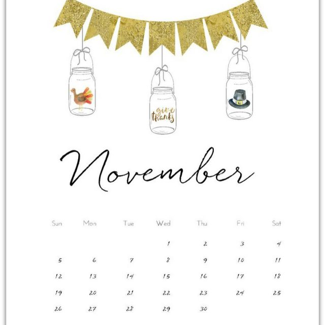 November FREE calendarpage printable Link in profile freecalendar masonjar calendarhellip