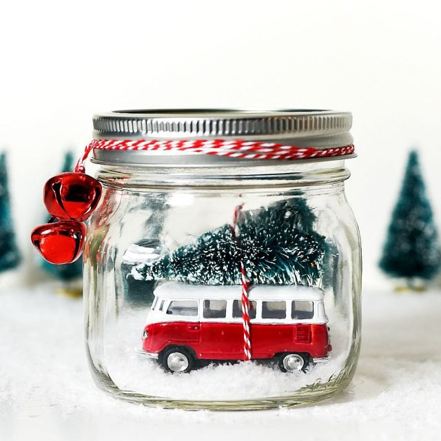 volkswagen bus in masonjar snowglobe