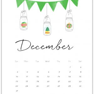 December Calendar Page Printable