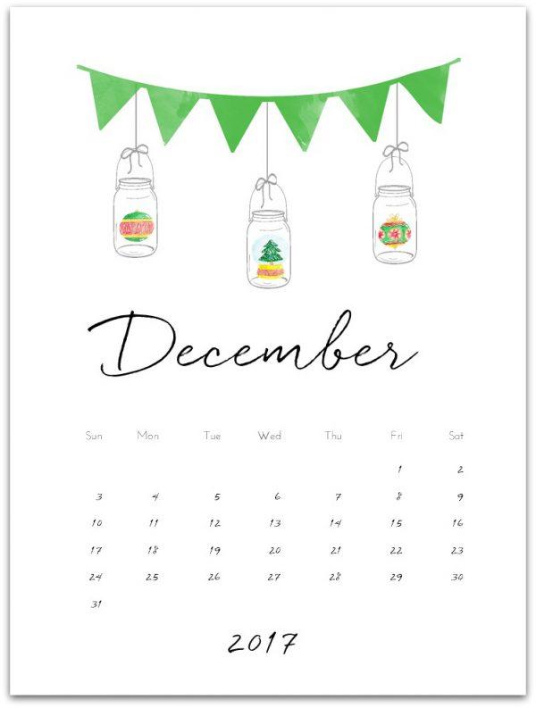 December Calendar Page Printable - 2017 Free Calendar Page Printables