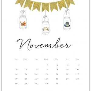 Free Calendar Page Printable for November 2017 - Mason Jar Calendar Page