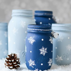 Stamped Snowflake Mason Jar Craft for Holidays - Kids Crafts for Holidays with Mason Jars