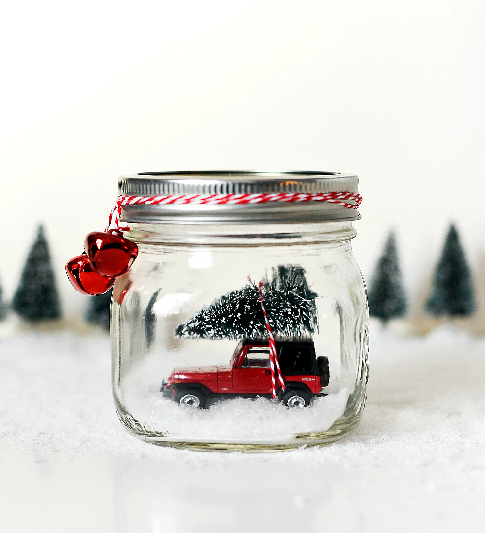Mason Jar Snow Globe with Vintage Jeep Wrangler - Car in Jar Snow Globe - Vintage Red Jeep Snow Globe