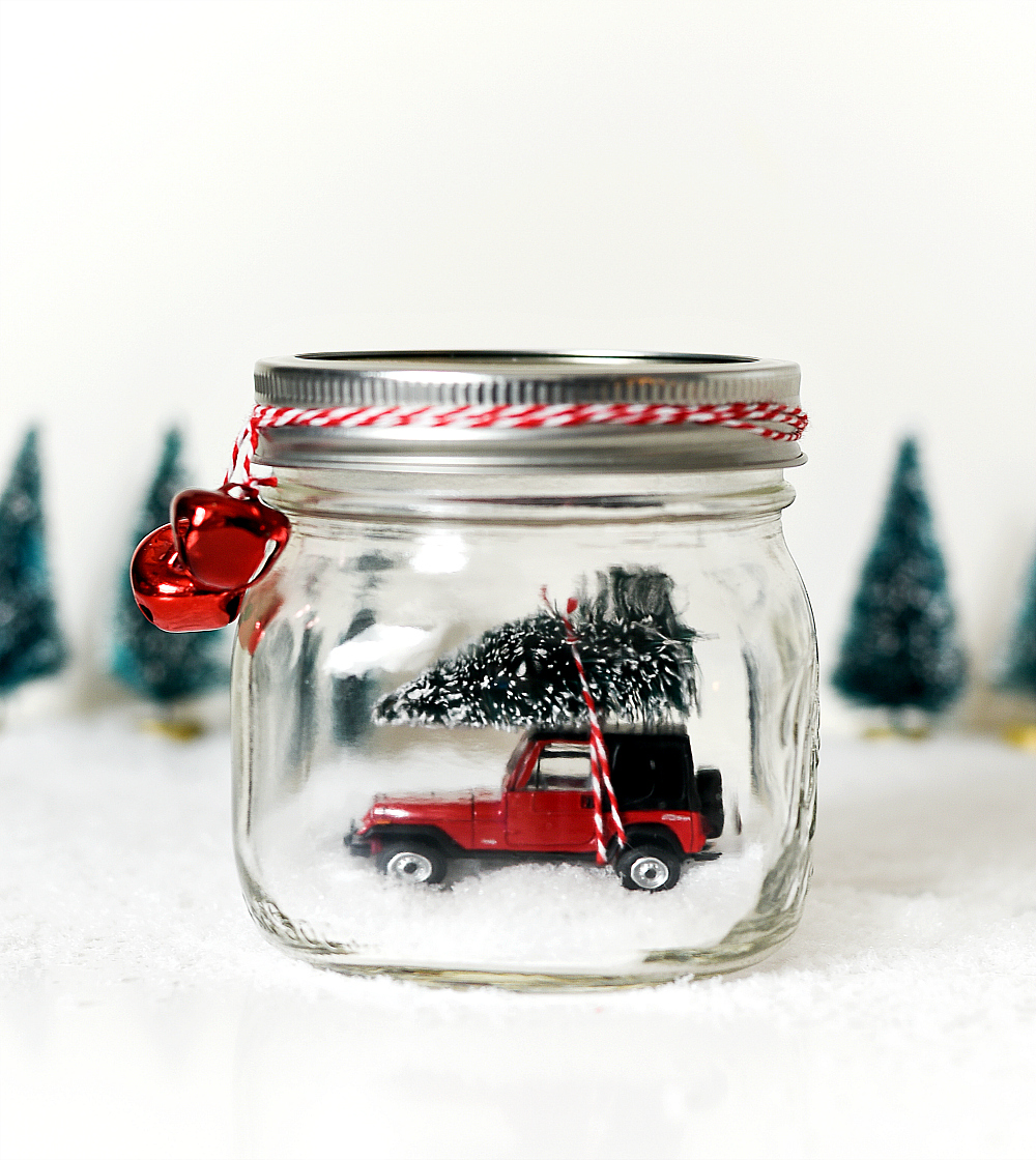 Mason Jar Snow Globe - Vintage Jeep Snow Globe - Car in Jar Snow Globe