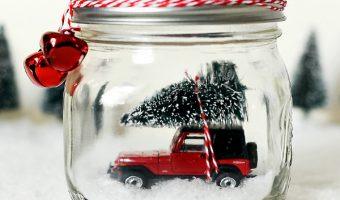 Mason Jar Snow Globe with Vintage Jeep Wrangler