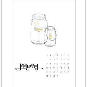 January Calendar Page Printable 2018