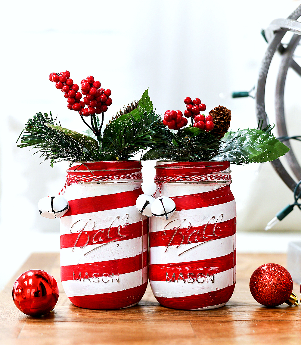 How To Make Candy Cane Mason Jars