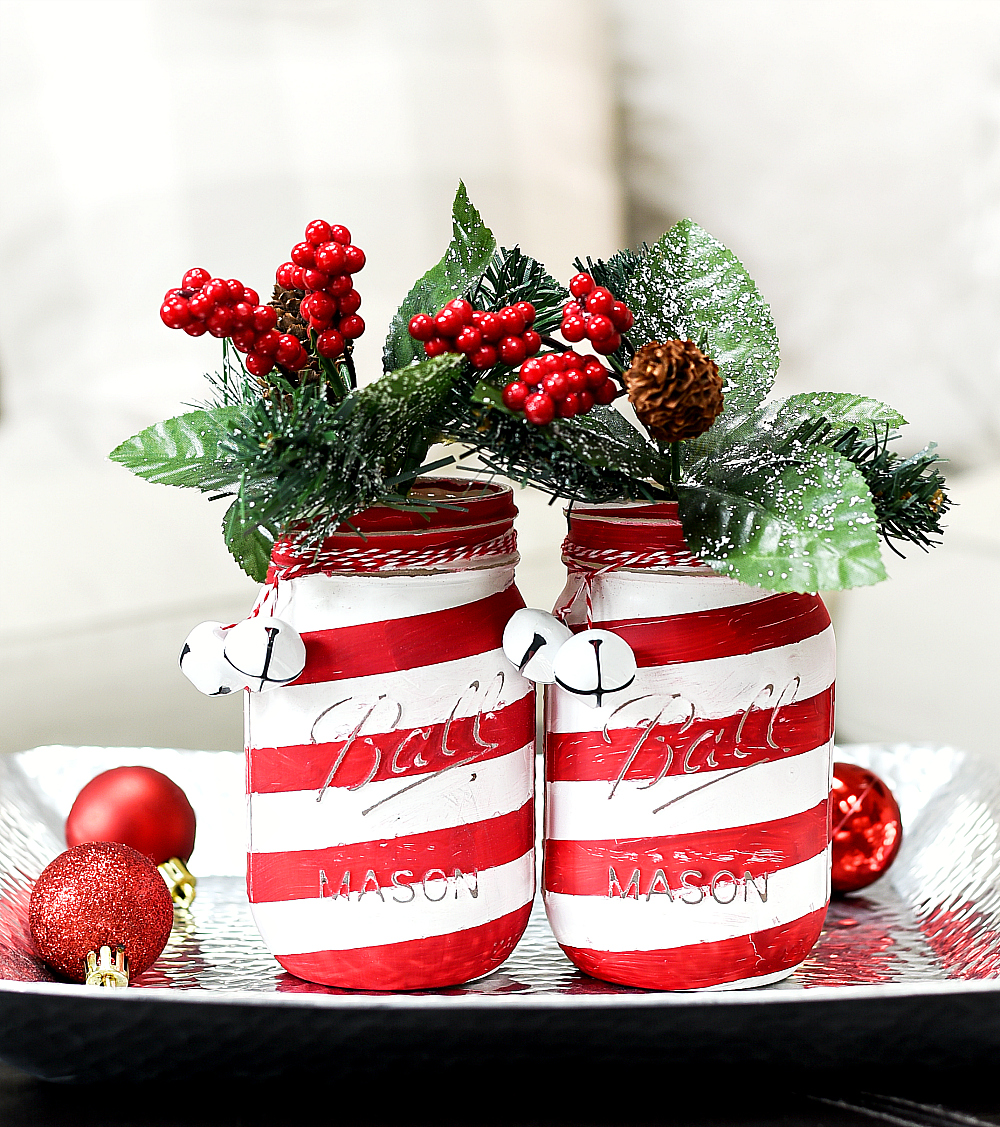 Candy Cane Mason Jars - Mason Jar Holiday Craft Ideas