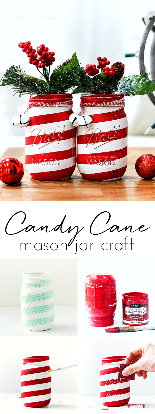Candy Cane Mason Jars Mason Jar Crafts Love