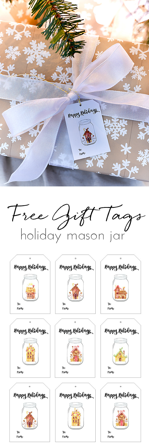 Free Printable Holiday Gift Tags - Mason Jar Holiday Gift Tags