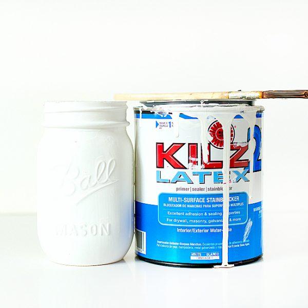 Kilz Primer on Mason Jars