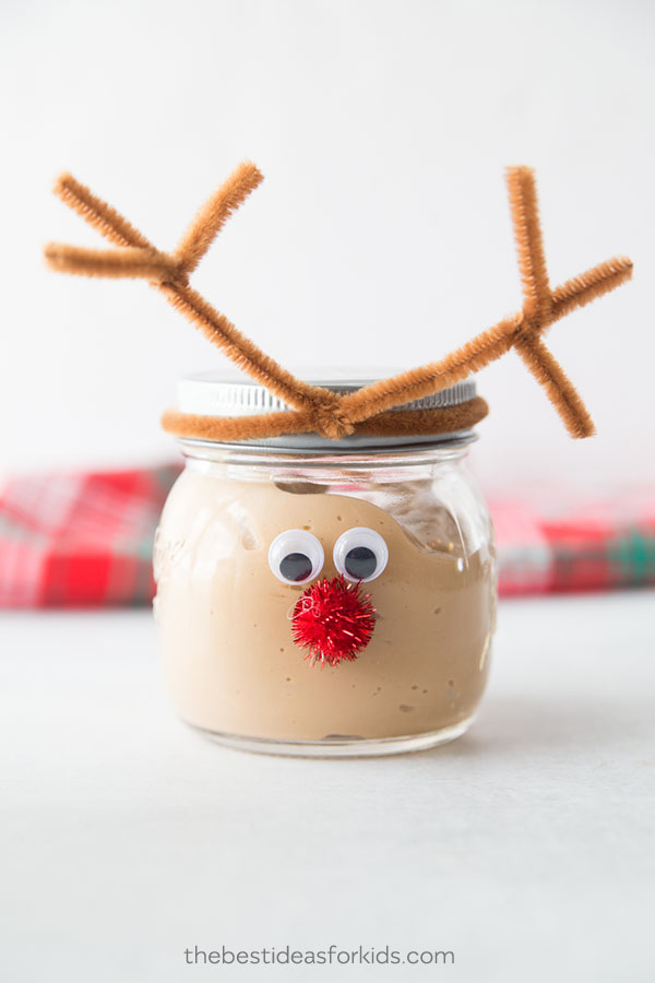 Mason Jar Stocking Stuffers - Christmas Slime Recipe - Reindeer Mason Jar Craft Idea - Kids Christmas Craft with Jars
