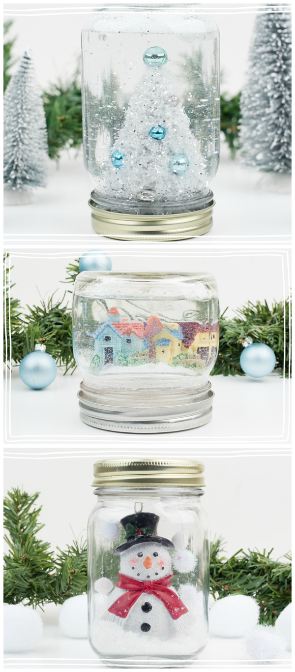 Mason Jar Snow Globes for Winter - Water and Waterless Snow Globes Using Mason Jars