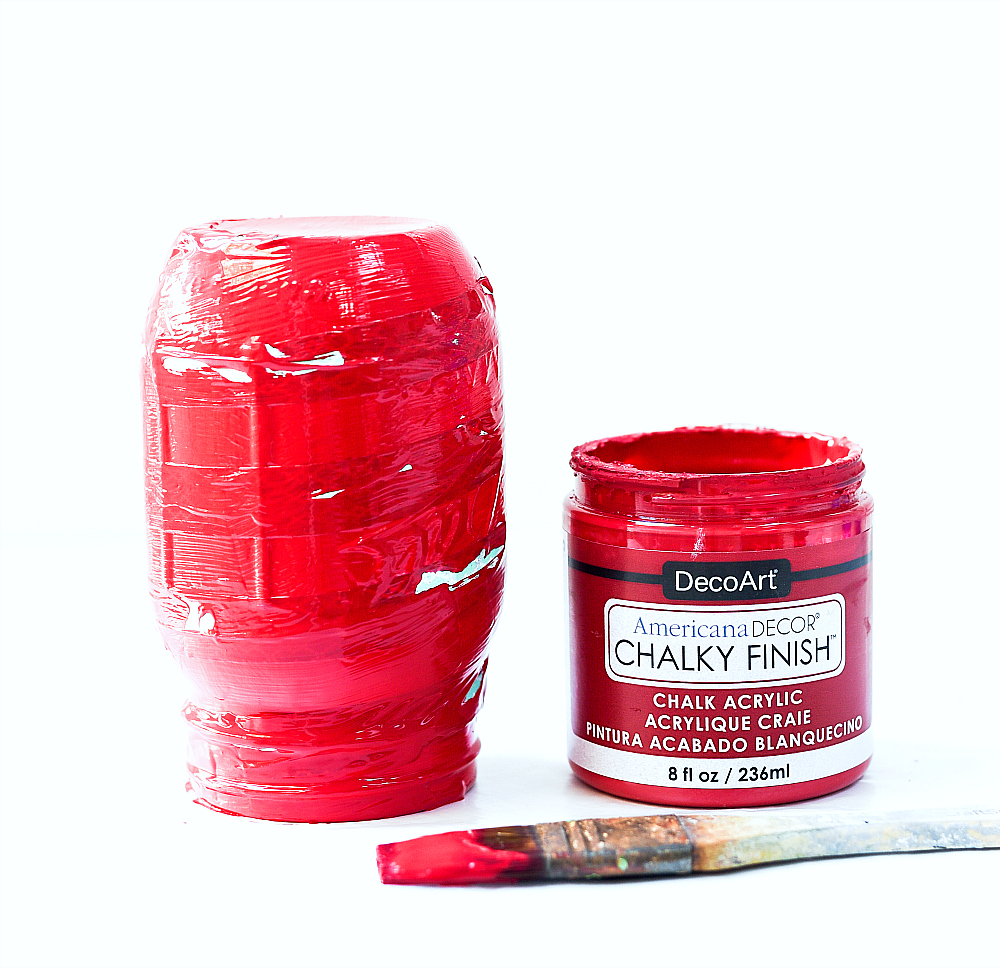Americana Chalk Paint on Mason Jars - Red Chalk Paint