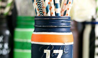 Football Jersey Mason Jar