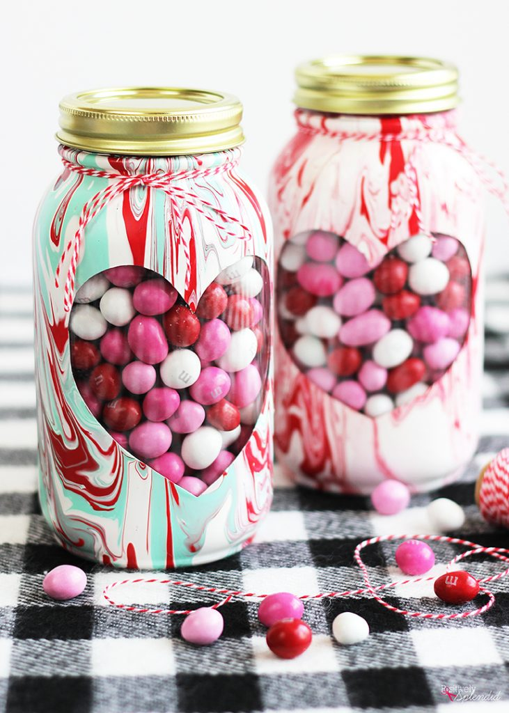 Marbled Painted Valentine's Day Mason Jar