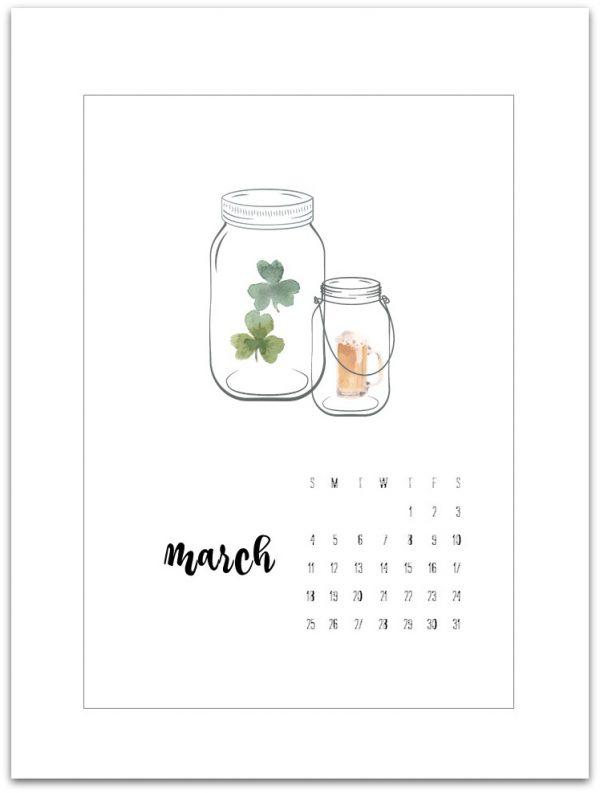 March Mason Jar Calendar Page