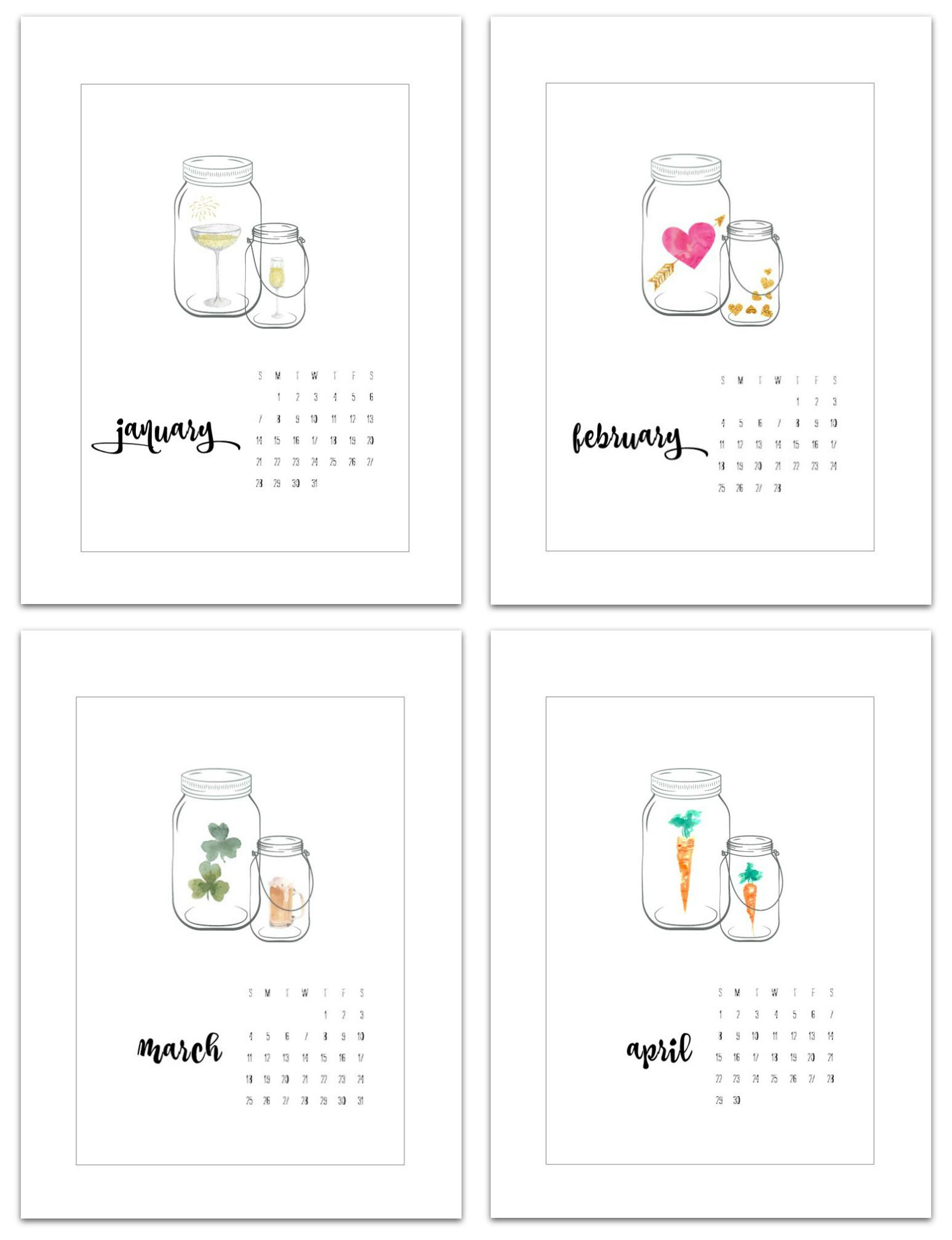 2018 Calendar Page Printables - Mason Jar Calendar Pages