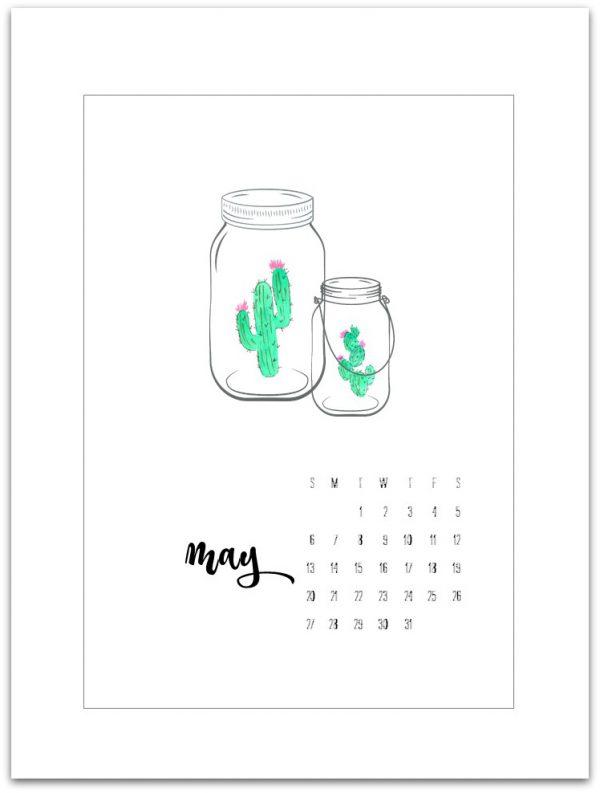 May Calendar Page Printable - Mason Jar Calendar Page - Free Calendar Page