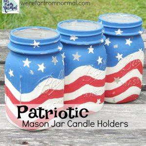 Red White Blue Mason Jar Candle Holder