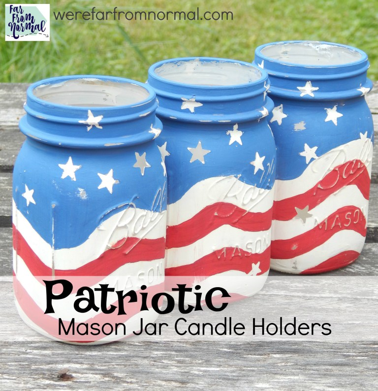 Red White Blue Mason Jar Candle Holder